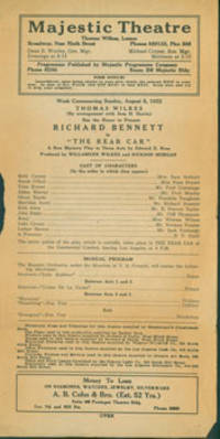 The Rear Car. A New Mystery Play in Three Acts by Edward E. Rose. Sunday, August 6, 1922