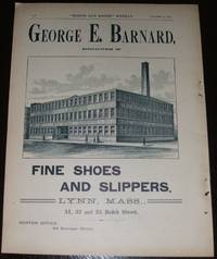 image of 1890 Full Page Ad for George E. Barnard Fine Shoes and Slippers , Factory  View
