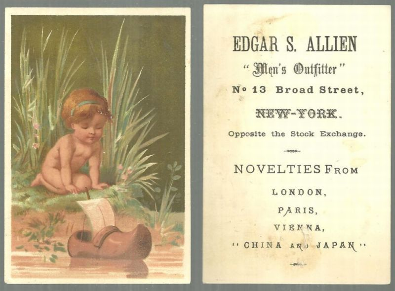 VICTORIAN TRADE CARD FOR EDGAR S. ALLIEN MEN'S OUTFITTER WITH BOY SAILING A WOODEN SHOE BOAT, Advertisement