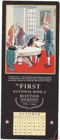 image of A 1934 Illustrated Advertising Calendar Ink Blotter Founding Massachusetts  Bank