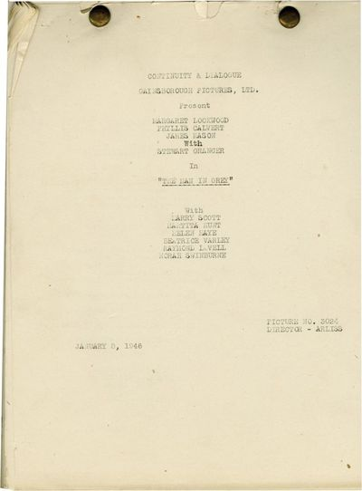 Universal City, CA: Universal Pictures, 1946. Post-production Continuity and Dialogue script for the...