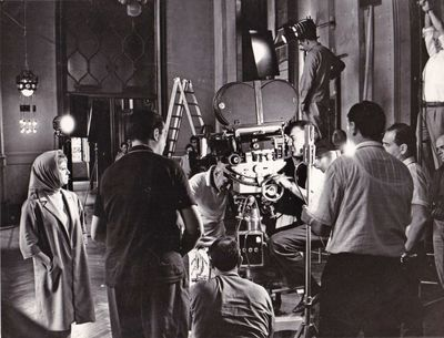N.p.: N.p., 1965. Vintage borderless reference photograph of Giulietta Masina, Federico Fellini, and...
