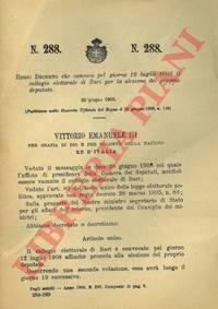 che convoca pel giorno 12 luglio 1908 il collegio elettorale di Bari per la elezione del proprio deputato.