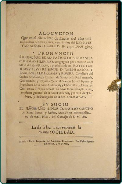 Manila: En la Imprenta del Seminario Eclesiastico, por Ignacio Ad-Vincula, 1783. Folio (29.5 cm; 11....