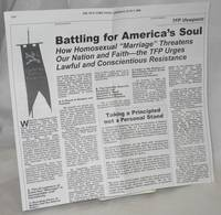 Battling for America's soul: how homosexual marriage threatens our nation and faith the TFP urges lawful and conscientious resistance (NY Times advertisement)