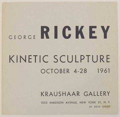 New York: Kraushaar Galleries, 1961. First edition. Small softcover. 12 pages. Exhibition catalog fo...