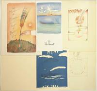 Ensemble de quatre menus de restaurant et une carte de voeux de restaurateur illustrés par Jean-Michel Folon