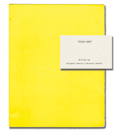 N.p.: N.p., 1985. Revised Shooting script and storyboard for an unproduced film. It is finals week a...