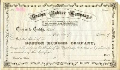 An unengrossed stock certificate for the Boston Rubber Company. Black on white paper. Uncancelled an...