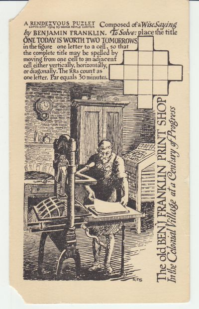 Chicago: Old Ben Franklin Print Shop. 1934. First Printing. Post Card. Post Card with standard post ...