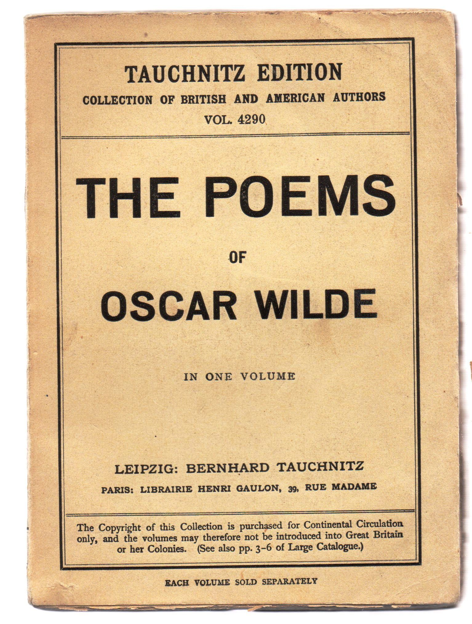 The Poems Of Oscar Wilde By Oscar Wilde Paperback Copyright Edition Title Page States 1911 While Li From Attic Books And Biblioconz