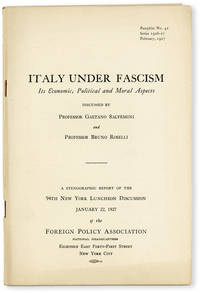 image of Italy Under Fascism: its Economic, Political and Moral Aspects. Stenographic report of the 94th New York Luncheon Discussion, January 22, 1927