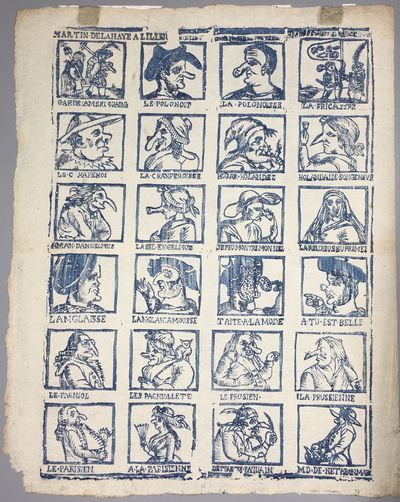 [woodcut print with 24 caricatures,...