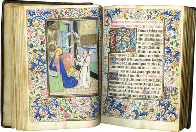 SUBSTANTIAL BOOK OF HOURS IN GOOD CONDITION WITH MANY LARGE AND SMALL MINIATURES. Illuminated manusc...