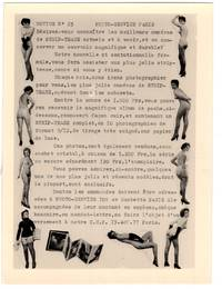 Small promotional photo on Agfa-Gevaert paper, Notice No. 34 Photo Service Paris, Strip Tease and Cabaret Photo services with 9 nude figures