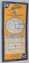 Michelin Map 24 Andermatt - Bolzano, 1952