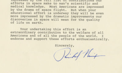 "5/3/87. Richard Nixon ""I was…impressed by the full list of contributions our efforts in space ma..."