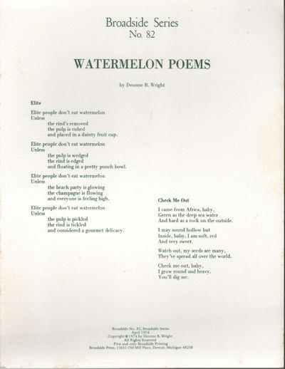 Detroit: Broadside Press, 1974. First Edition. Near fine. Broadside printed recto only. 10.875