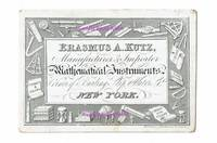 [ Ephemera, Trade Cards ] Advertising Card for Mathematical Instruments manufactured and imported by Erasmus A. Kutz