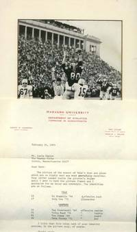 "TSL from Eric Cutler ['40], Assistant Director of Athletics, Harvard University to [William] Davis Taylor [1909-2002] of the Boston Globe (AND) Matted photograph ""THE GAME"" identifying Yale and Harvard players on November 23, 1969 [actor: Tommy Lee Jones aka #61 Tom Jones '69, offensive guard]."