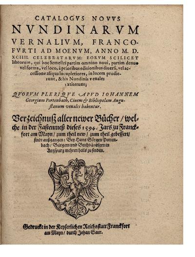 Catalogus Novus nundinarum Vernalium,...