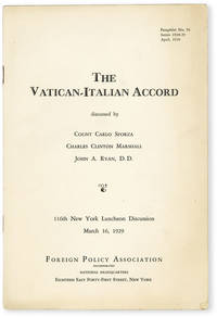 image of The Vatican-Italian Accord. 116th New York Luncheon Discussion, March 16, 1929