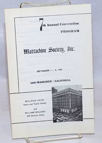 7th Annual Convention Program, Mattachine Society, Inc. September 1-5, 1960, San Francisco, California