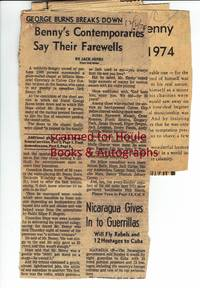 Archive of Eight (8) Original Press Clippings on Jack Benny's Funeral, December, 1974