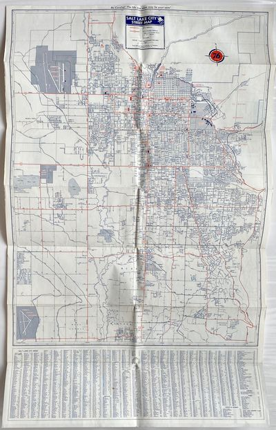: Rand McNally, 1956. Map on a sheet printed in red and blue ink. Very good with folds as issued. St...