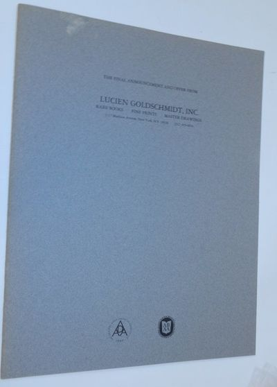 New York: Lucien Goldschmidt, Inc, 1986. First Edition. Wraps. Near Fine. First Edition. 16 pages. S...