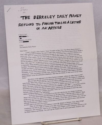 Berkeley: Self-published by the author, 2007. 2p, stapled, photocopied, signed by author, author red...