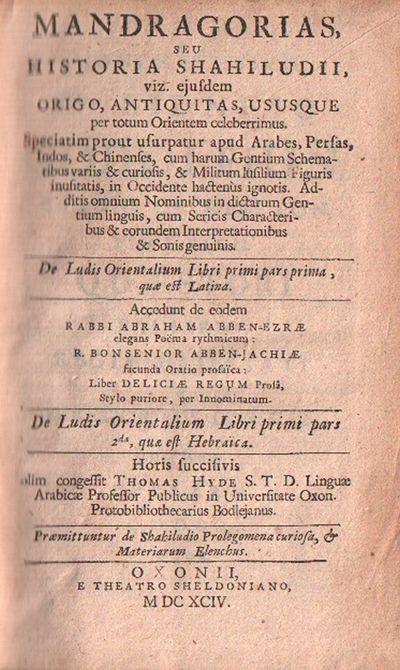 De ludis orientalibus libri duo ......