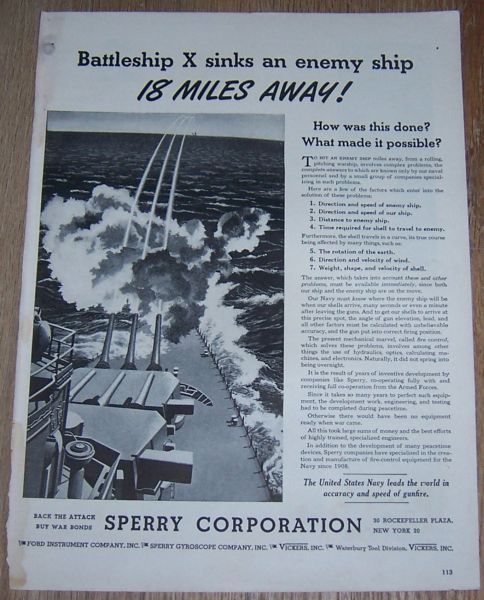1943 WORLD WAR II SPERRY CORPORATION MAGAZINE ADVERTISEMENT, Advertisement