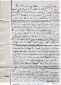 HANDWRITTEN WILL OF MARTIN PECK OF MOUNT JOY TOWNSHIP, LANCASTER COUNTY, 13 DECEMBER 1897