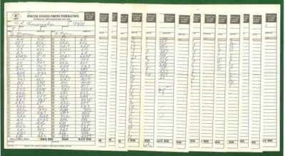 Complete set of fourteen scores sheets in Robert Byrne's hand, including the Evans game, and both th...