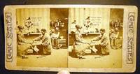Stereoview Photograph Of a Lady Being Fitted for Shoes from the Comic Series