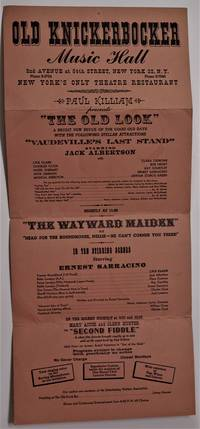 """Broadside - Vaudeville)  Old Knickerbocker Music Hall  - The Old Look Revue Featuring """"Vaudeville's Last Stand"""",  Starring Jack Albertson  and """"The Wayward Maiden"""", with Jack Lemmon ( early theatre appearance)"""