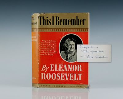 New York: Harper & Brothers Publishers, 1949. First edition of Eleanor Roosevelt's wonderful autobio...