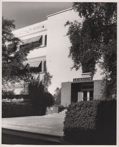 N.p.: N.p., 1950. Vintage photograph of Walt Disney Studios' Animation Building, circa 1950s. With a...