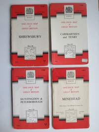 image of 4 ordnance survey maps, 1 inch to 1 mile on paper. Sheet nos. 118, 134,  152 & 164 [Shrewsbury, Huntingdon & Peterborough,  Carmarthen & Tenby,  Minehead]