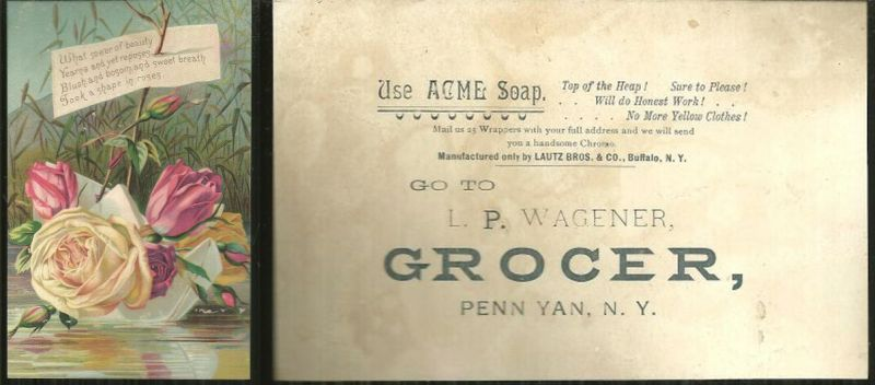 VICTORIAN TRADE CARD FOR ACME SOAP, Advertisement