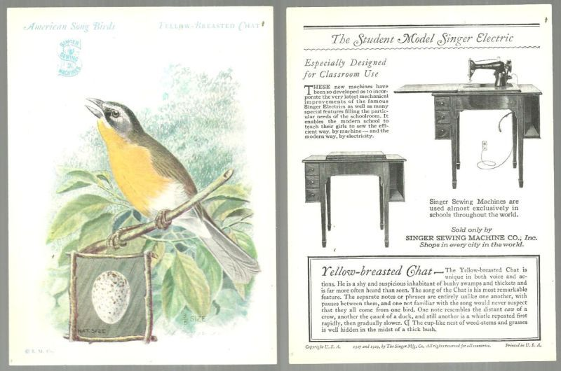 VICTORIAN TRADE CARD FOR SINGER SEWING MACHINE AMERICAN SONG BIRDS SERIES THE YELLOW-BREASTED CHAT, Advertisement