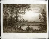Untitled etching of man fishing in a pond