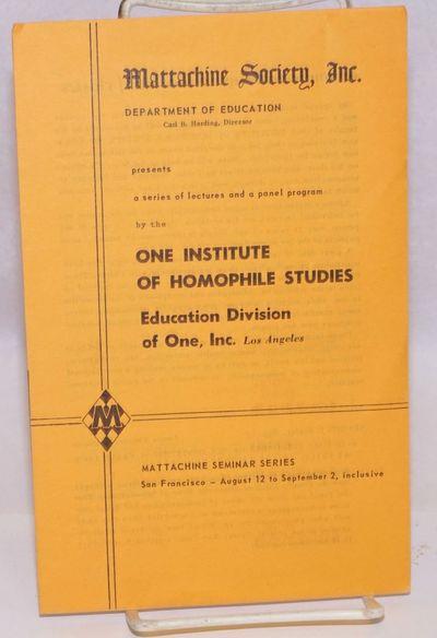San Francisco: Mattachine Society SF & One, Inc. LA, 1959. Four-panel brochure, 5.5x8.5 inches on ye...