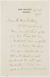 image of Autograph Letter Signed to Mr Mansell Morny, (William A., 1844-1930, Theologian & Educationalist, Originator of the 'Spoonerism')