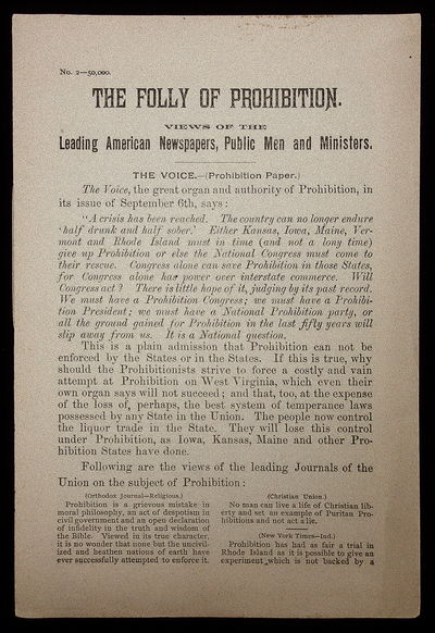 The Voice (Prohibition Paper), c. 1888. 16pp. An attempt to rebuke the idea of prohibition through t...