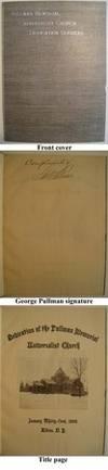 SB. 30pg. 1895. Albion, New York. A book, Pullman Memorial Universalist Church Dedication Services, ...