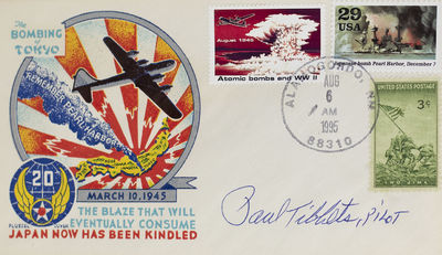 Rare first day cover featuring three stamps commemorating the conclusion of WWII. Color illustrated ...