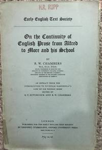 On the Continuity of English Prose from Alfred to More and His School