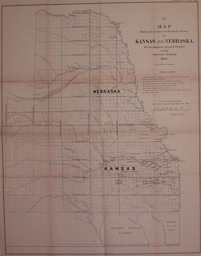 Leavenworth, Kansas: Surveyor General's Office, 1862. unbound. very good(+). Map. Uncolored lithogra...